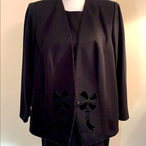 Leslie Fay Black Suit Jacket w/Dress Size 14W